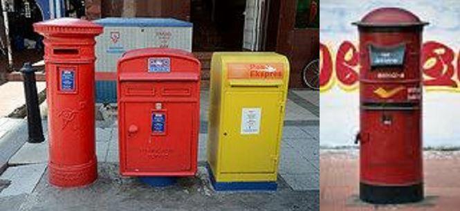 (Left) Malaysian mailbox, yellow box on far right is express mail (photo: Faryna Hana Niel)