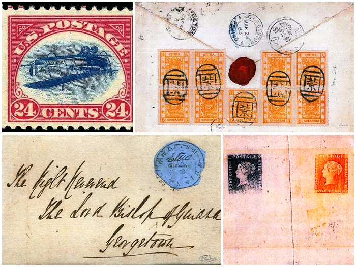 (From the top left, clockwise) The Inverted Jenny, with an airplane printed upside down; the String of Pearls envelope, with nine of China's first postal stamp, the Five Candarin Large Dragon; the Mauritius Proofs, misprinted with 'Post Paid;' and, a blue British Guiana stamp are all on display at the PHILAKOREA 2014 World Stamp Exhibition. (images courtesy of Korea Post)