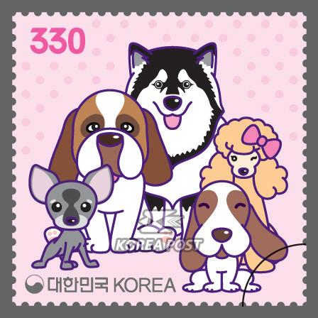 韩国12月1日发行狗年邮票
