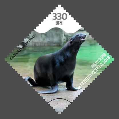 韩国7月10日发行海洋保护动物邮票