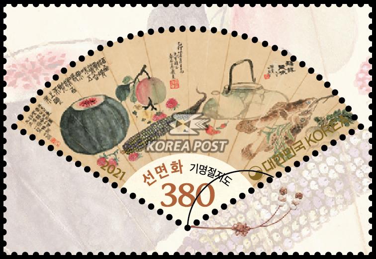 선면화(기명절지도) - 선면화 우표사진