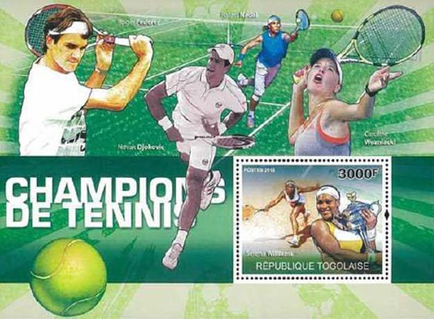 세계 테니스 스타들의 우표 외