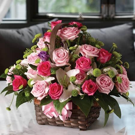 분홍장미꽃바구니(2)