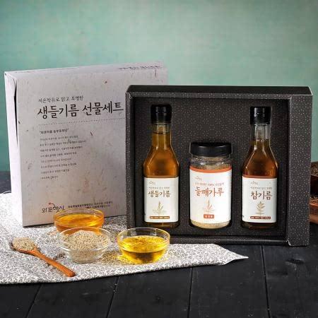 [남도장터] 와포햇살 국내산 들기름+생들기름 선물세트180ml(들깨가루증정!!)