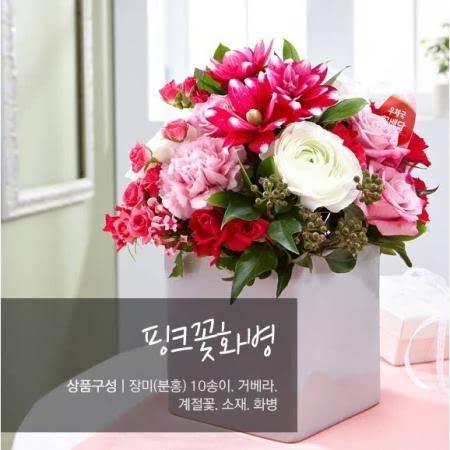 핑크꽃화병