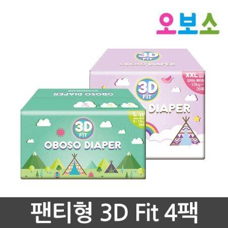 오보소 기저귀 팬티형 3D 핏 4팩 [기저귀]