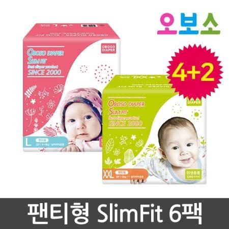 오보소 기저귀 팬티형 슬림 핏 6팩 [기저귀]