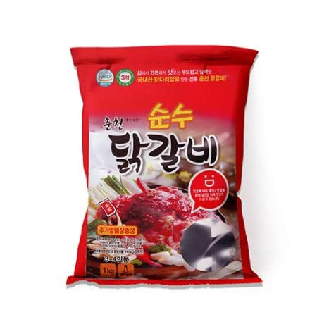 순수닭갈비 1kg*2 닭다리살로 만든 냉장상품 (양념장100g*2 증정)