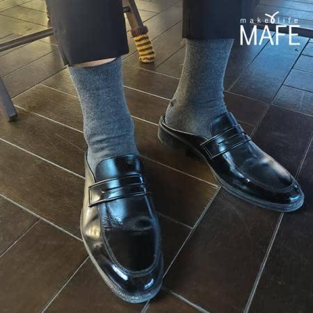 메이프 라이크라 무지 남자 신사 발가락양말 중목 5족 세트