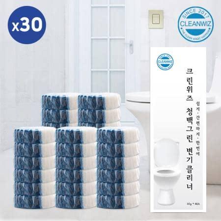 크린위즈 청백그린 변기클리너 대용량 50g x 30알(20개월사용) 변기세정제 개별포장