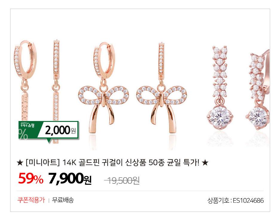 ★ [미니아트] 14K 골드핀 귀걸이 신상품 50종 균일 특가! ★